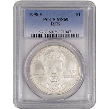 1998-S US Robert F. Kennedy Commemorative BU Silver Dollar - PCGS MS69