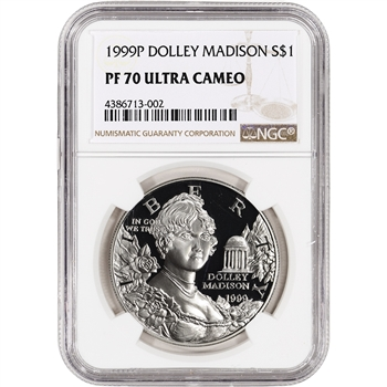 1999-P US Dolley Madison Commemorative Proof Silver Dollar - NGC PF70 UCAM