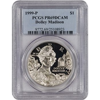 1999-P US Dolley Madison Commemorative Proof Silver Dollar - PCGS PR69DCAM