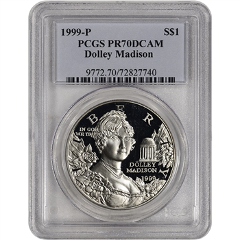 1999-P US Dolley Madison Commemorative Proof Silver Dollar - PCGS PR70 DCAM