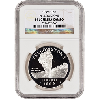 1999-P US Yellowstone National Park Commem Proof Silver Dollar - NGC PF69UCAM