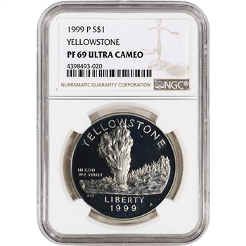 1999-P US Yellowstone National Park Commemorative Proof Silver Dollar - NGC PF69