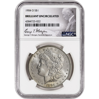 1904-O US Morgan Silver Dollar $1 - NGC Brilliant Uncirculated