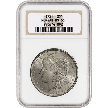 1921 US Morgan Silver Dollar $1 - NGC MS65