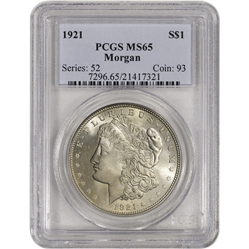 1921 US Morgan Silver Dollar $1 - PCGS MS65