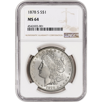 1878-S US Morgan Silver Dollar $1 - NGC MS64