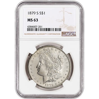 1879-S US Morgan Silver Dollar $1 - NGC MS63