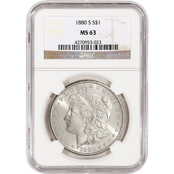 1880-S US Morgan Silver Dollar $1 - NGC MS63