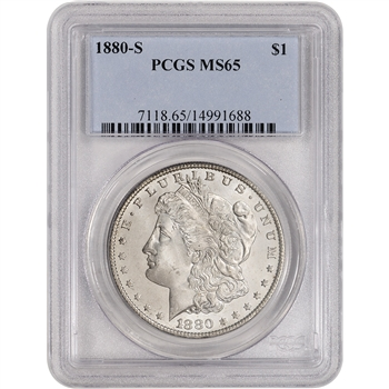 1880-S US Morgan Silver Dollar $1 - PCGS MS65