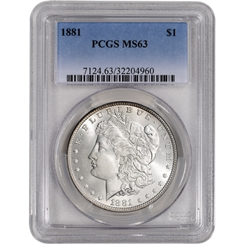 1881 US Morgan Silver Dollar $1 - PCGS MS63