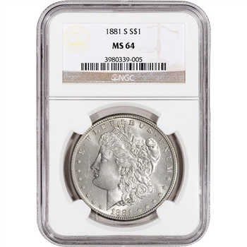 1881-S US Morgan Silver Dollar $1 - NGC MS64