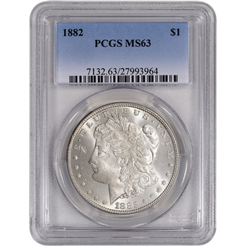 1882 US Morgan Silver Dollar $1 - PCGS MS63