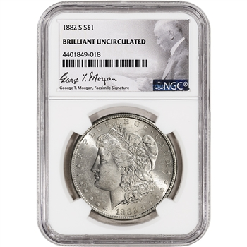 1882-S US Morgan Silver Dollar $1 - NGC Brilliant Uncirculated