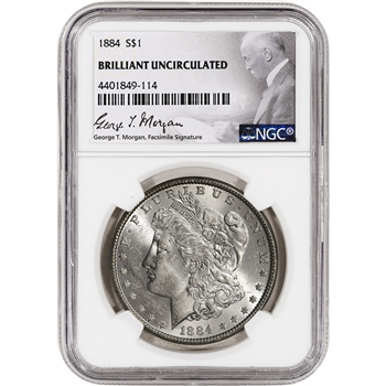 1884 US Morgan Silver Dollar $1 - NGC Brilliant Uncirculated