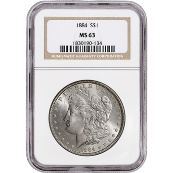 1884 US Morgan Silver Dollar $1 - NGC MS63