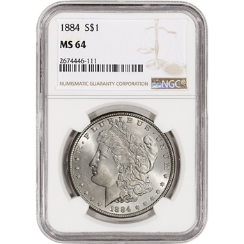 1884 US Morgan Silver Dollar $1 - NGC MS64