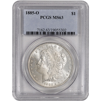 1885-O US Morgan Silver Dollar $1 - PCGS MS63