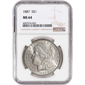 1887 US Morgan Silver Dollar $1 - NGC MS64
