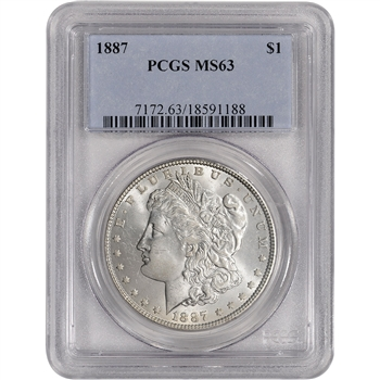 1887 US Morgan Silver Dollar $1 - PCGS MS63