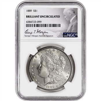 1889 US Morgan Silver Dollar $1 - NGC Brilliant Uncirculated