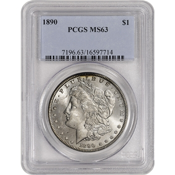 1890 US Morgan Silver Dollar $1 - PCGS MS63