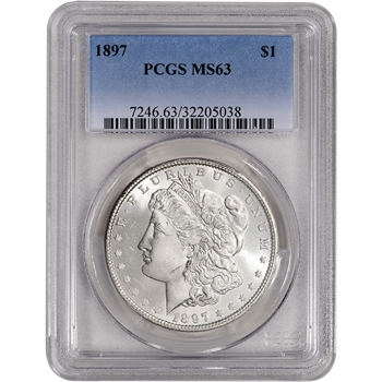 1897 US Morgan Silver Dollar $1 - PCGS MS63