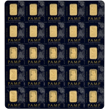 25X1 gram Gold Bar - PAMP Suisse - 999.9 Fine in Assay