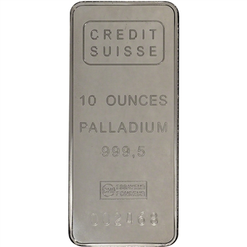 10 oz. Palladium Bar - Credit Suisse - 999.5 Fine