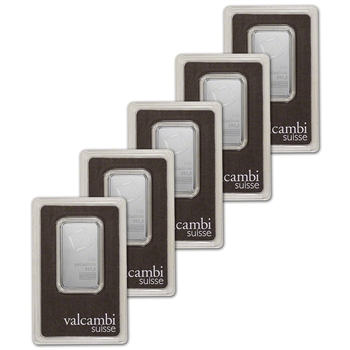 1 oz. Palladium Bar - Valcambi Suisse - 999.5 Fine in Assay - Five 5 Bars