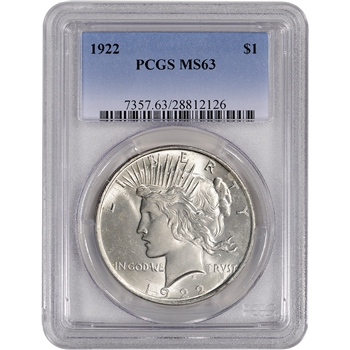 1922 US Peace Silver Dollar $1 - PCGS MS63