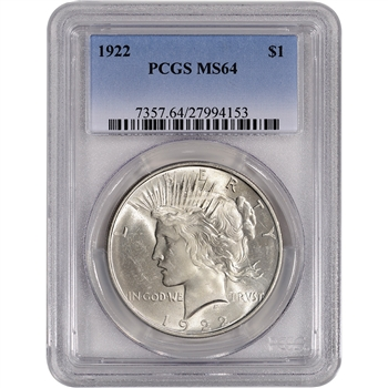 1922 US Peace Silver Dollar $1 - PCGS MS64