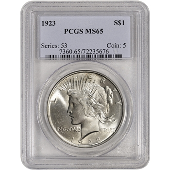 1923 US Peace Silver Dollar $1 - PCGS MS65