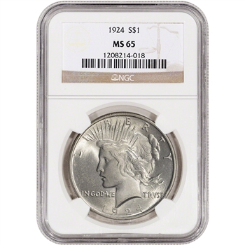 1924 US Peace Silver Dollar $1 - NGC MS65