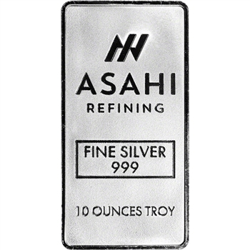 10 oz. Silver Bar - Asahi Refining .999 Fine - Sealed