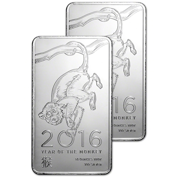 TWO (2) 10 oz. Silver Bar - Elemetal Mint - Year of the Monkey .999 Fine Sealed