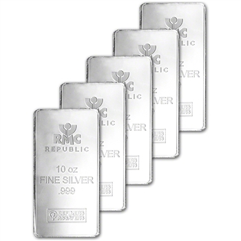 FIVE (5) 10 oz. RMC Silver Bar - Republic Metals Corp .999 Fine