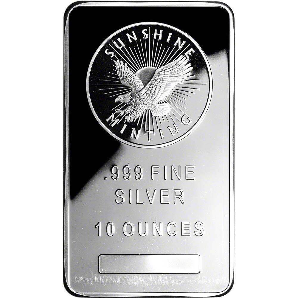 10 Oz Silver Bar Sunshine Minting 999 Fine