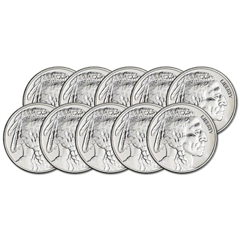 TEN (10) 1 oz. Silver Round - Great American Mint - Buffalo Design - .999 Fine