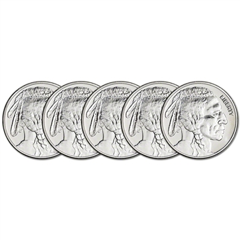 FIVE (5) 1 oz. Silver Round - Great American Mint - Buffalo Design - .999 Fine