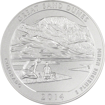 2014-P US America the Beautiful Five Ounce Silver Uncirculated Coin - Dunes