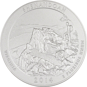 2014-P US America the Beautiful Five Ounce Silver Uncirculated Coin - Shenandoah