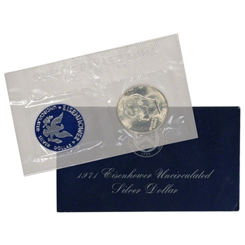 1971 US Eisenhower Uncirculated Silver Dollar - Blue Ike 40% Silver