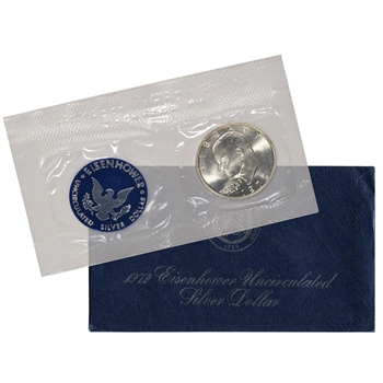 1972 US Eisenhower Uncirculated Silver Dollar - Blue Ike 40% Silver