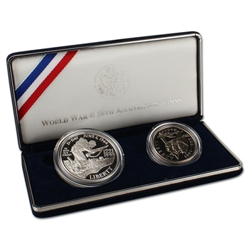 1993 US World War II 2-Coin Commemorative Proof Set
