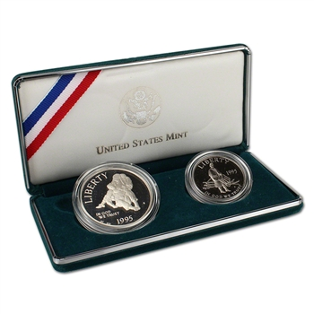 1995 US Civil War 2-Coin Commemorative Proof Set