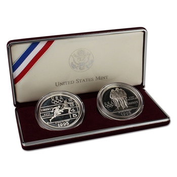 1995 US Olympic - Track & Field/Cycling 2-Coin Commemorative Proof Set