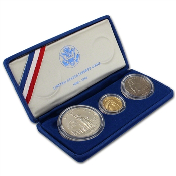 1986 US Statue of Liberty 3-Coin Commemorative BU Set