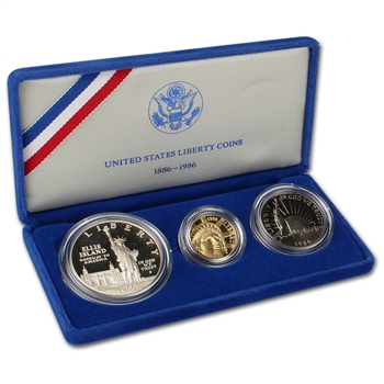 1986 US Statue of Liberty 3-Coin Commemorative Proof Set
