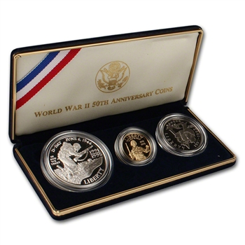 1993 US World War II 50th Anniversary 3-Coin Commemorative Proof Set