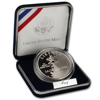 2002-P US Salt Lake City Olympic Winter Games Commemorative Proof Silver Dollar